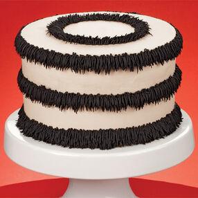 Ivory with Black Fringe Cake