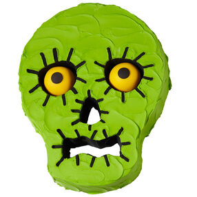 Surprised Green Skull Cake