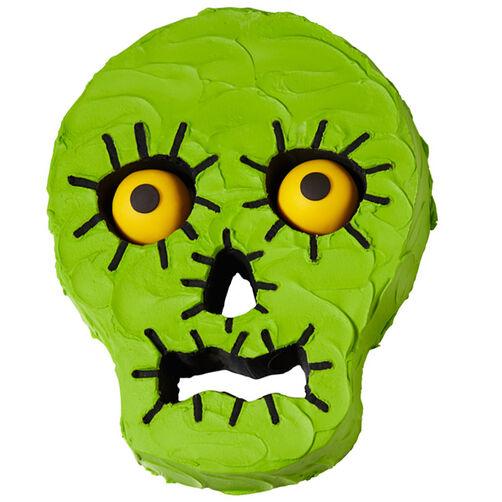 Surprised Green Skull Cake