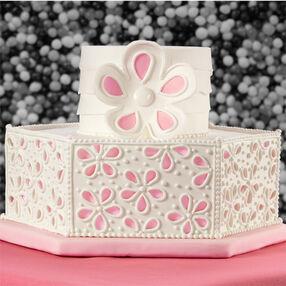 Peek-A-Boo Floral Panels Wedding Cake