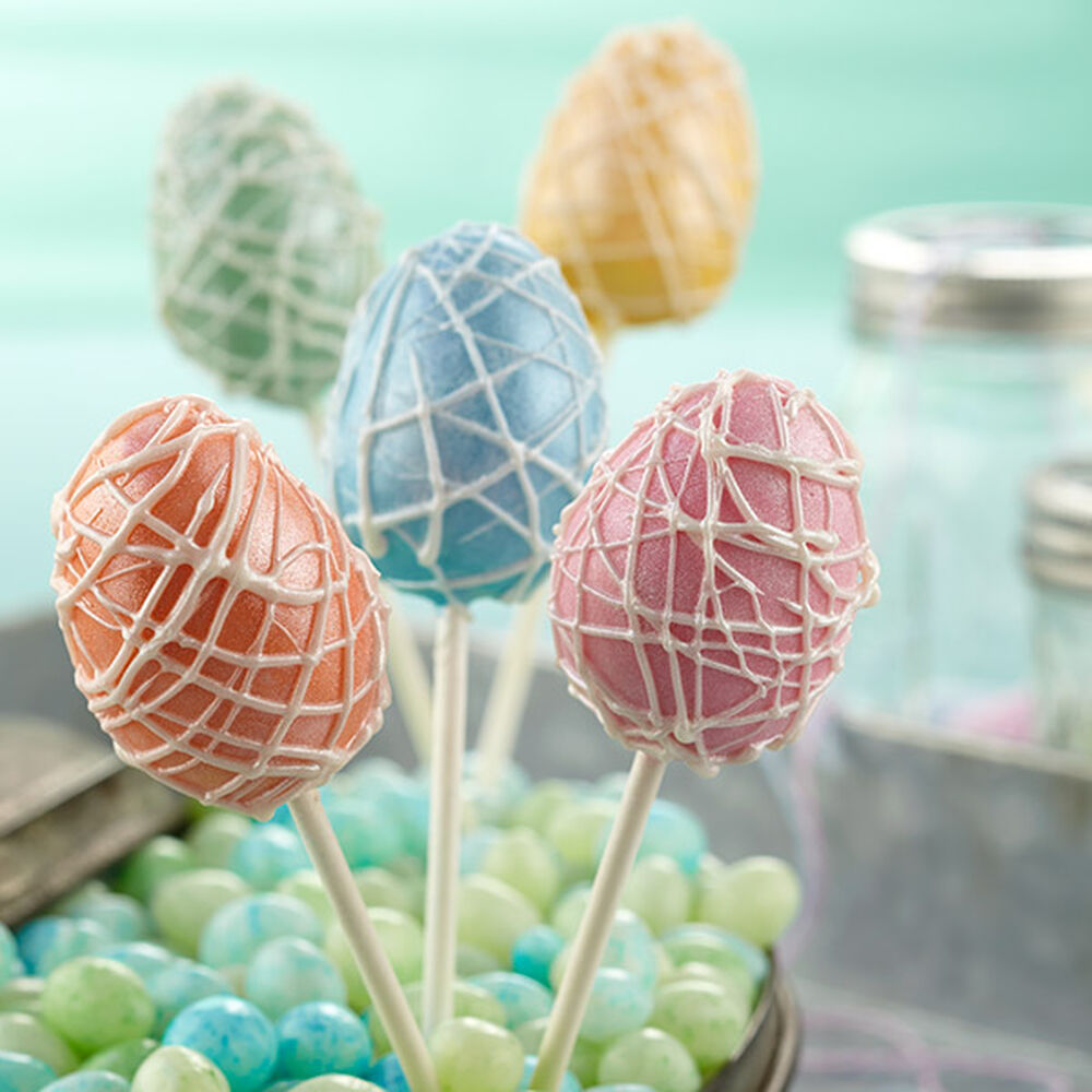 Easter Cake Pop Decorations : Pearlized Easter Egg Cake Pops Wilton