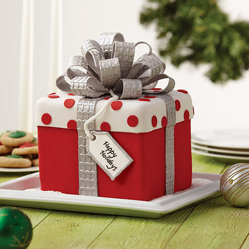 Christmas gift box fondant cake with bow wilton for Christmas cake gift