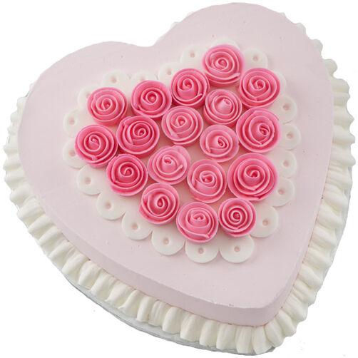 Ribbon Rose Heart Cake