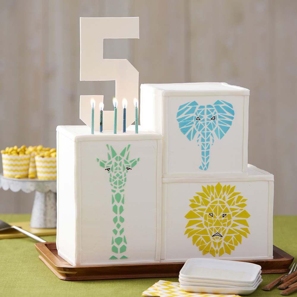 Mosaic wild animal cake wilton for Animal cake decoration ideas