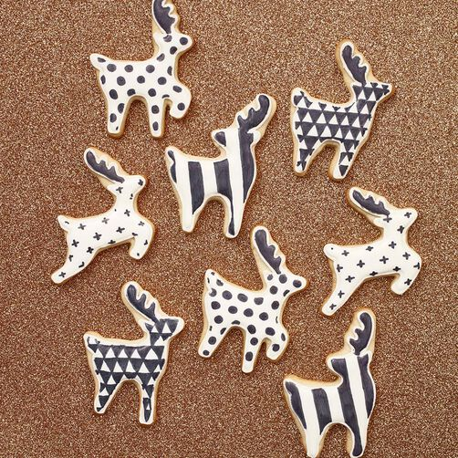 Black and White Reindeer Cut-Out Cookies