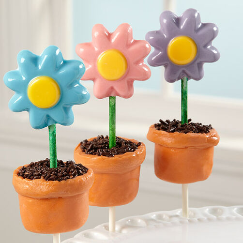 Flower Pot Lollipop Marshmallow Treats