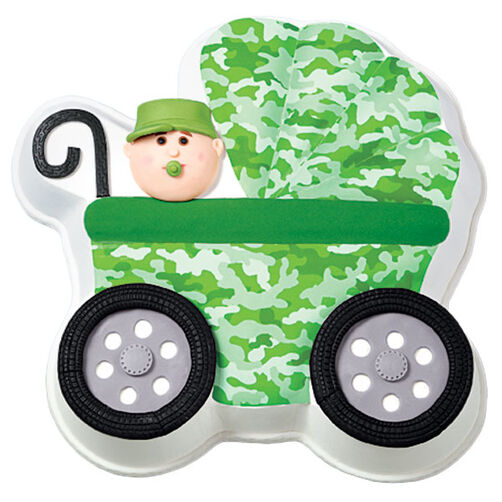 Camouflage Baby Carriage Cake