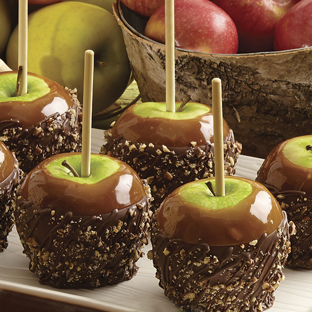 Pecan caramel apples dipped in candy wilton for Apples decoration
