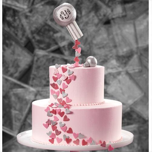 Confetti Hearts of Love Wedding Cake