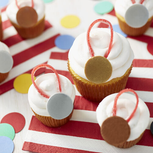 Gold, Silver and Bronze Medal Cupcakes