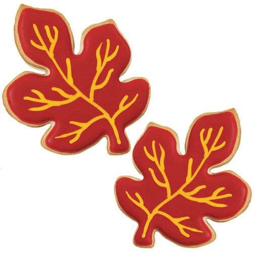Leafy Red and Gold Autumn Cookies