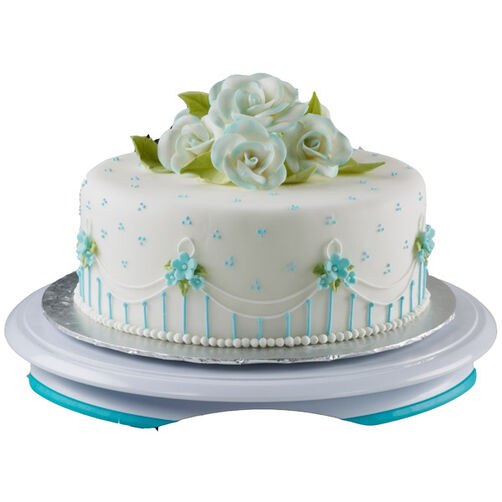 Blossoms in Blue Cake