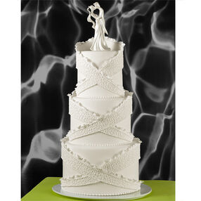 Criss-Cross Cornelli Wedding Cake