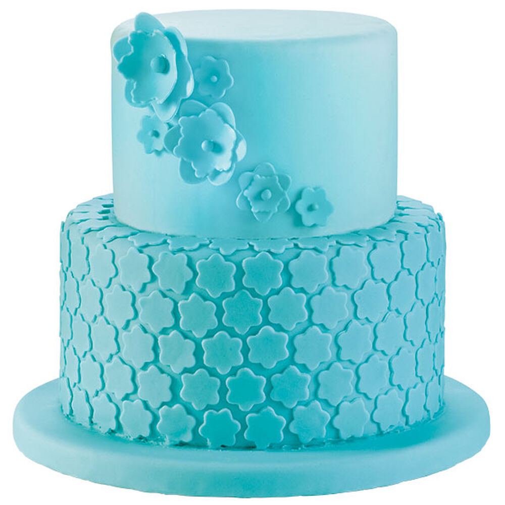 Cake With Fondant Storage : Blue Blossoms Fondant Cake Wilton