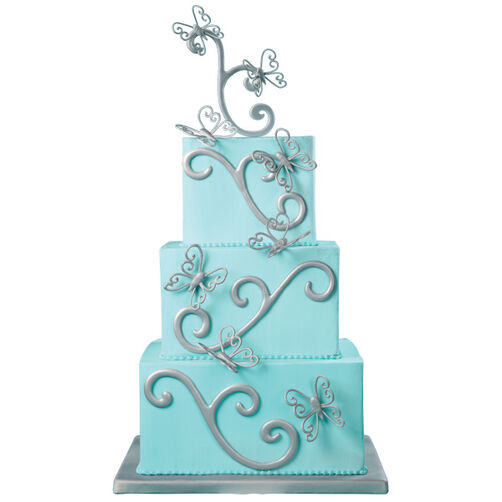 Silver Butterflies Cake