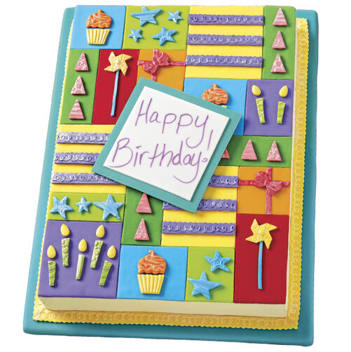 Patchwork Happy Birthday Cake
