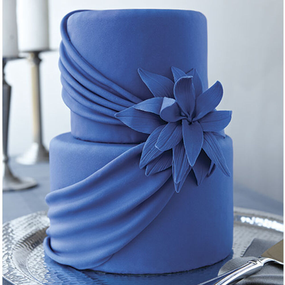 Blue Drape Wedding Cake Wilton