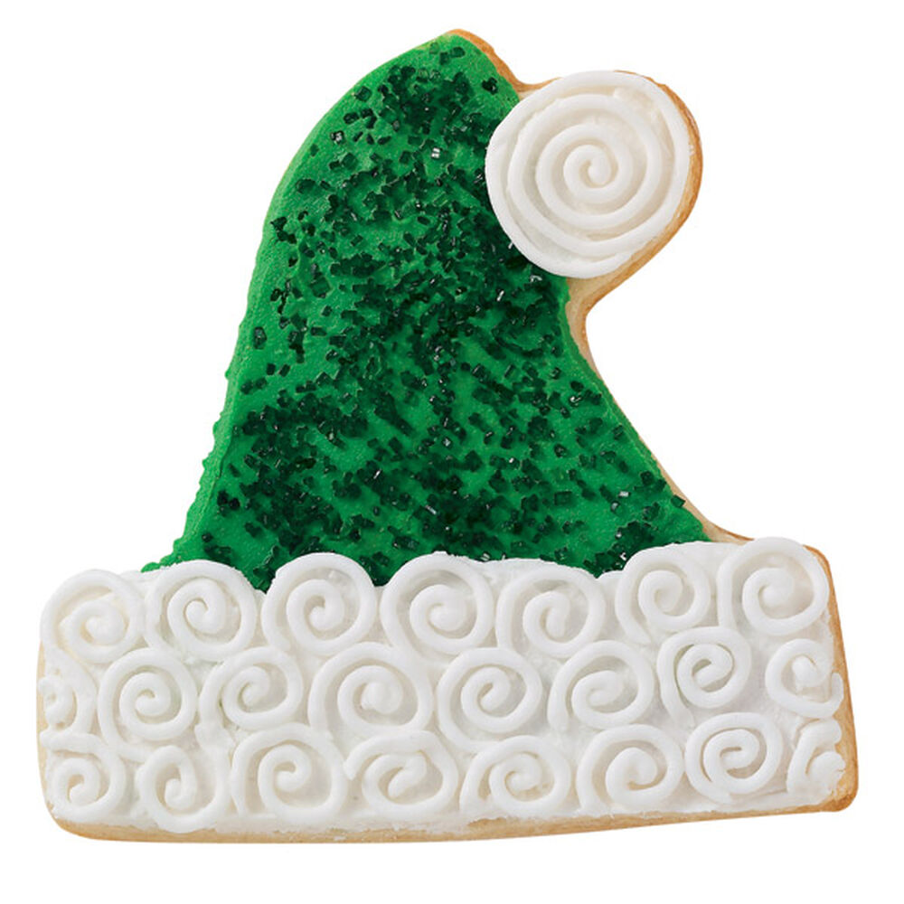 Sparkling green santa hat cookie wilton