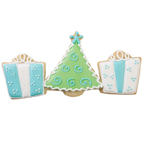 Blue, White, Green Christmas Tree & Presents Cookie