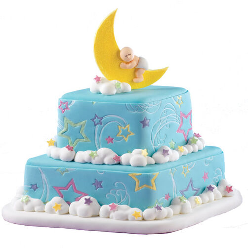 Lunar lullabyes baby cake wilton - Wilton baby shower cake toppers ...