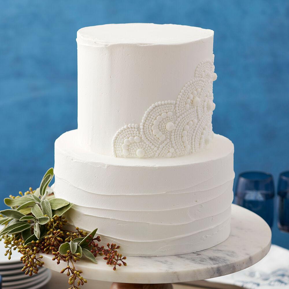 Scalloped White Wedding Cake Wilton