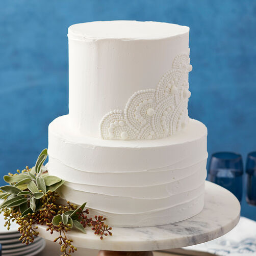 Scalloped White Wedding Cake
