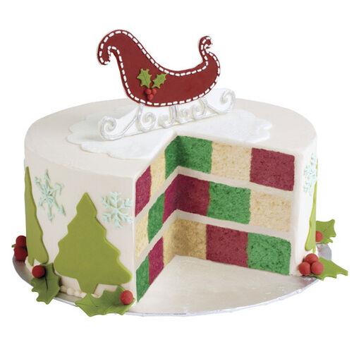 Christmas Cake Ideas Wilton : Sleigh Bells Checkerboard Christmas Cake Wilton