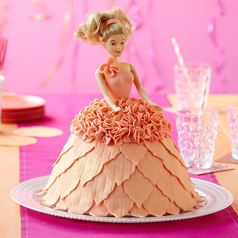 Doll in Peach Dress Cake Wilton