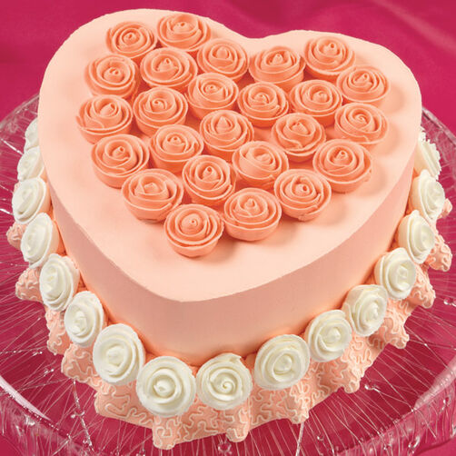 Ruffles & Ribbon Roses Heart Cake