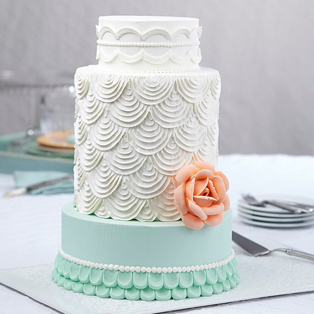 Cake Piping Design Patterns : Giant Rose Cake With Scallops Wilton