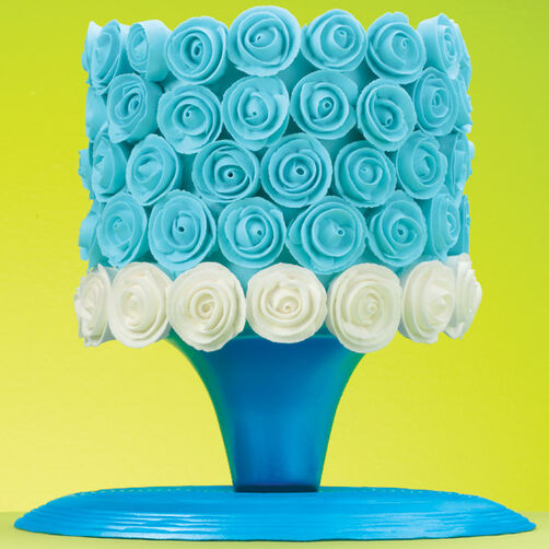 Blue and White Ribbon Roses Cake