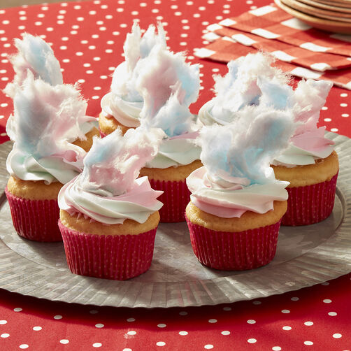 County Fair Cotton Candy Cupcakes