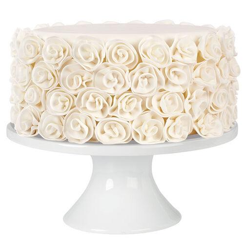 Winter White Ribbon Rose Fondant Cake