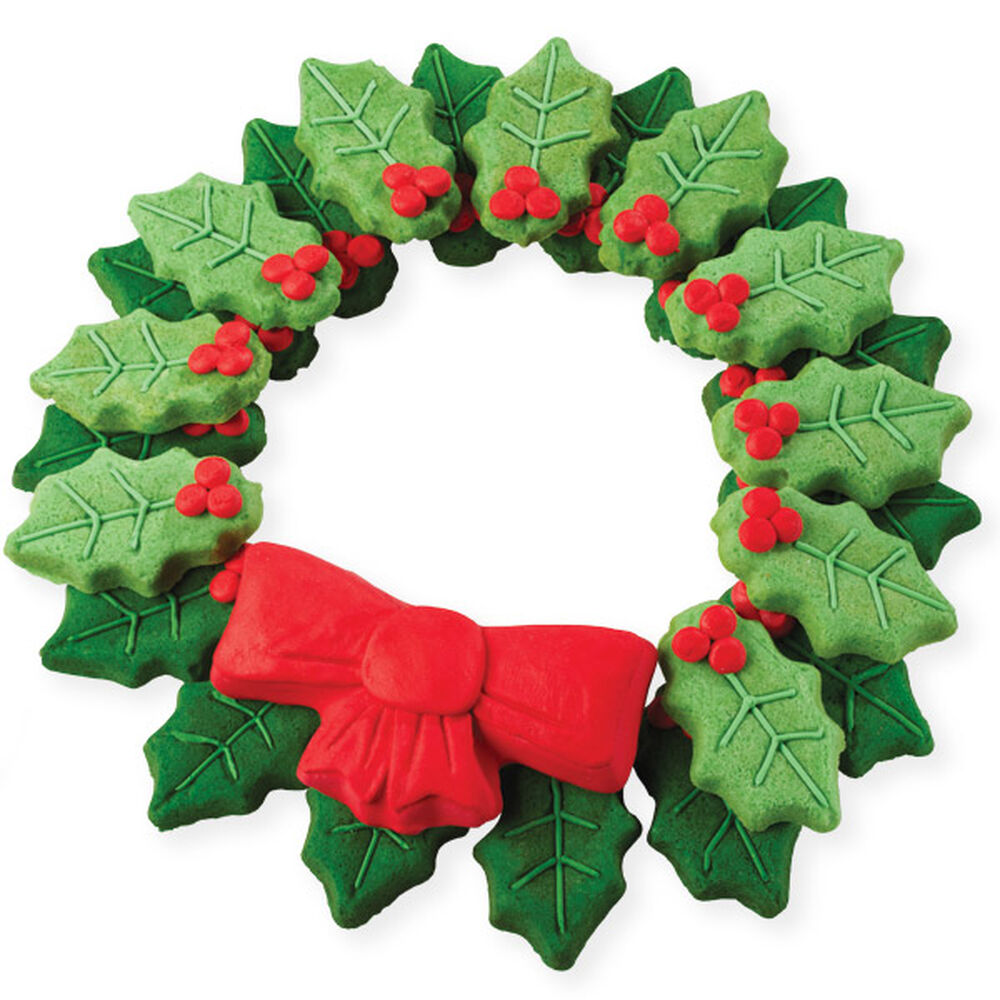 holly wreath cookies for the holidays wilton