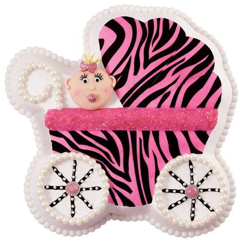 Zebra Diva Baby Carriage Cake