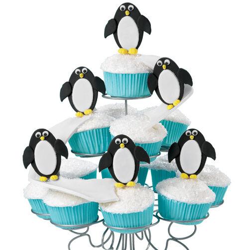 Snow-Sliding Penguins Cupcake Display