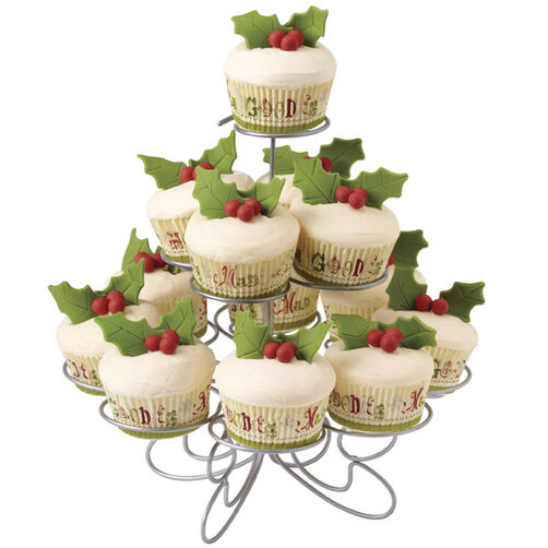 Christmas Cupcakes Decked with Holly
