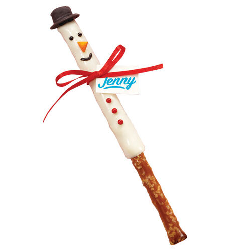 Skinny Snowman Candy Dipped Pretzels