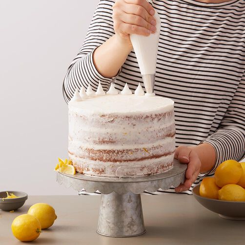 Naked cake with white lemon buttercream frosting