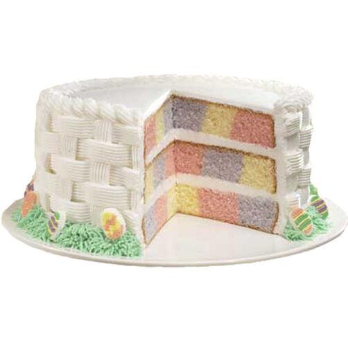 Wilton Easter Cake Decorating Ideas : Checkerboard Pastel Easter Basket Cake Wilton
