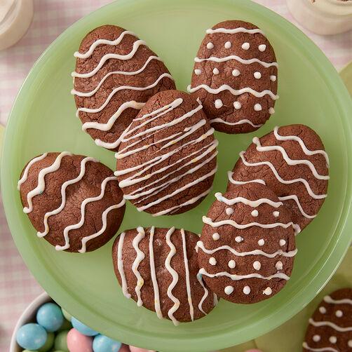 Vanilla Custard Stuffed Chocolate Egg Cookies