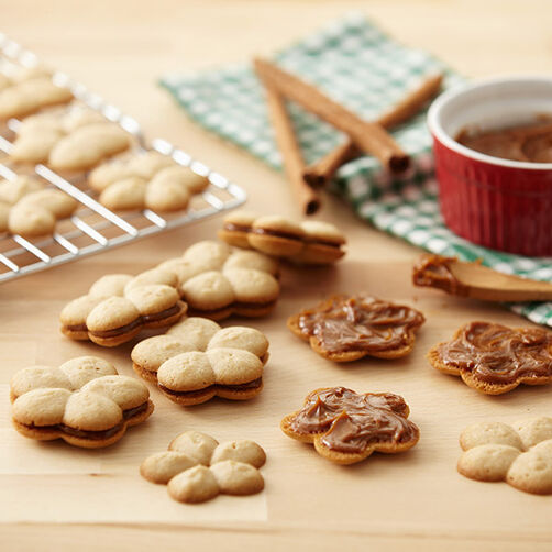 Cinnamon Spritz Cookies with Dulce de Leche Filling