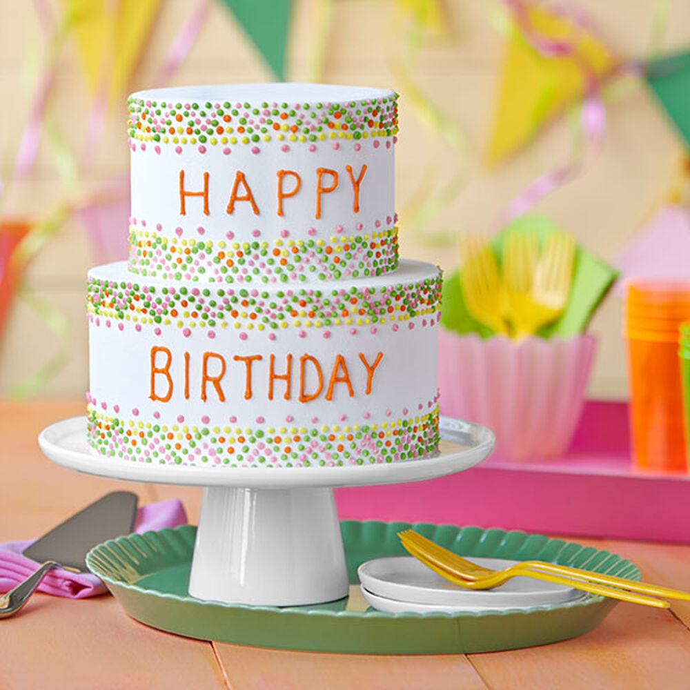 Easy Birthday Cake With Colorful Polka Dots
