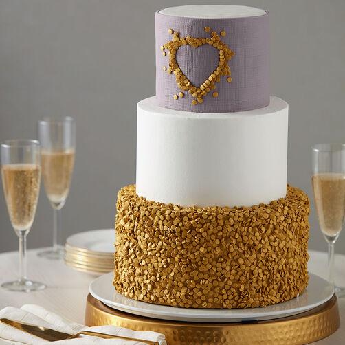 Gold Decoration On Cake : Glittery Gold Wedding Cake