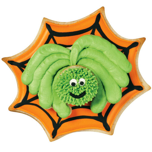 Orange Web and Green Spider Cookies