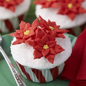 Festive Poinsettia Cupcakes