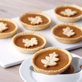 Leaf-Topped Mini Pumpkin Pies