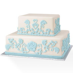 Baroque Impressions in Blue and White Cake