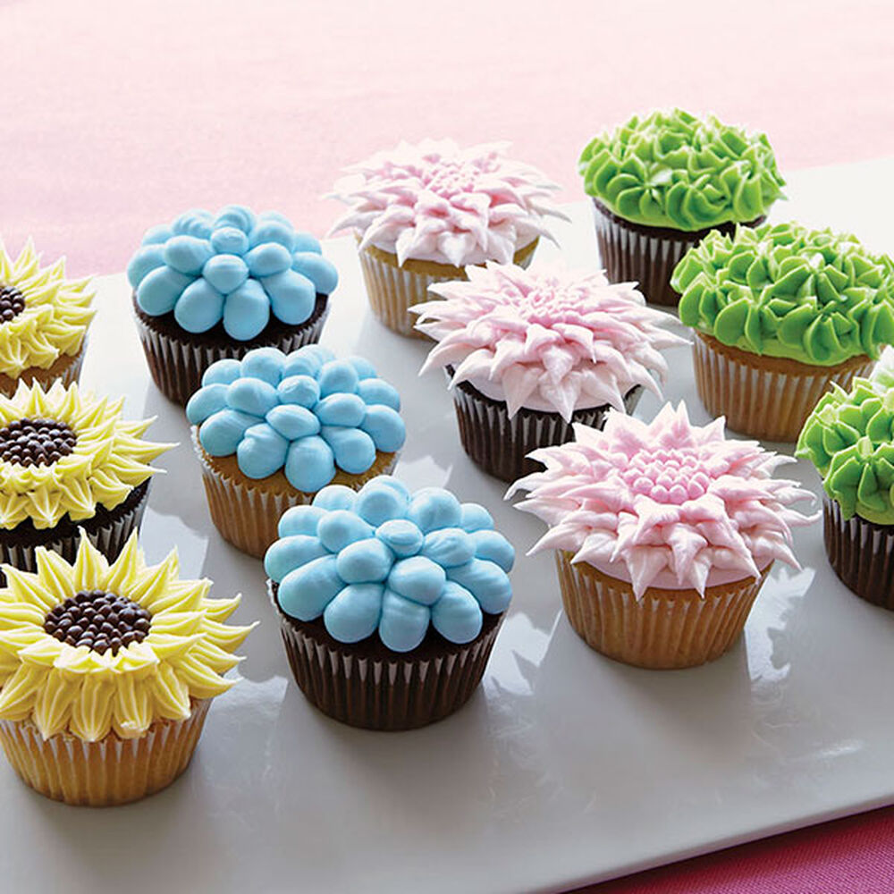 Wilton Cake Decorating Making Flowers : Fanciful Floral Cupcakes Wilton