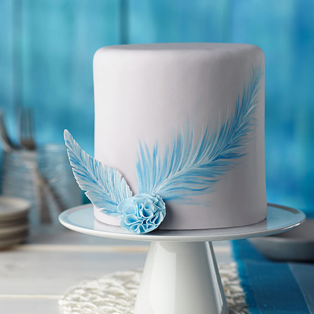 Cake Decorating Painting Icing : Painted Blue Feather Fondant Cake Wilton
